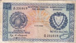 CHYPRE - BILLET DE 250 MILS - 1981 - Cyprus