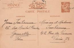 Entier Postal Yvert Sans Valeur CP1 Iris 5/4/1941 Cachet Grenoble Isère Pour Paris - Ganzsachen