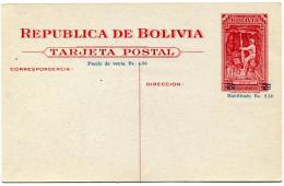 BOLIVIE THEME MINE/MINEUR  ENTIER POSTAL NEUF (barres De La Surcharge Légèrement Déplacées) - Bolivie