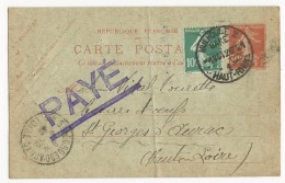 1926 - HAUT-RHIN - RARE CARTE ENTIER SEMEUSE 30c ROUGE De MULHOUSE GARE Pour ST GEORGES D´AURAC (HAUTE LOIRE)
