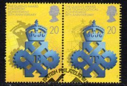 Great Britain 1990 Queen´s Award Se-tenant Pair 20p Value, Used - 1952-.... (Elizabeth II)
