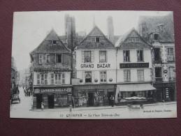 CPA 29 QUIMPER Place Terre Au Duc RARE PLAN Commerces GARNIER-BAILLY, SEIGNETTE, AU GASPILLAGE & CAVES ARMORICAINES ? - Quimper