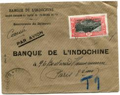 COTE FRANCAISE DES SOMALIS LETTRE PAR AVION DE LA BANQUE DE L´INDOCHINE SUCCURSALE DE DJIBOUTI DEPART DJIBOUTI 23 JAN 39 - Côte Française Des Somalis (1894-1967)