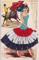 Carte BRODEE    Danseuse  ( Flamenco ?)et Torero . Couleurs Rouge,blanc,bleu,vert .   SAVIR  ESPAGNE - Bestickt