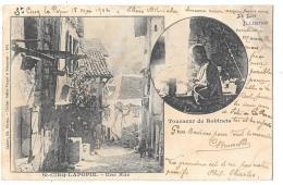 CPA...  ST  CIRQ -LAPOPIE... TOURNEUR DE ROBINET...UNE RUE...  1902...SCAN ... - Saint-Cirq-Lapopie