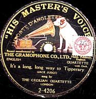 78 Trs - 25 Cm - état M -  1 FACE L´Ange  - THE CECILIAN QUARTETTE - It´s A Long´ Long Way To Tipperary - 78 G - Dischi Per Fonografi