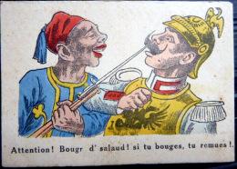 GUERRE DE 1914 CARICATURE PATRIOTIQUE  PROPAGANDE ANTI ALLEMANDE  ZOUAVE ET GUILLAUME 2 KRIEG MILITARIA - Guerre 1914-18