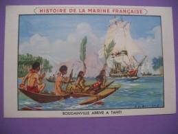 """CPA     Histoire De La Marine Française     """"  Bougainville Arrive à Tahiti  """" - Geschiedenis"""