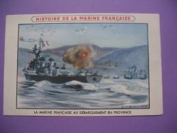"""CPA     Histoire De La Marine Française   """"  La Marine Française Au Débarquement En Provence """" - Geschiedenis"""