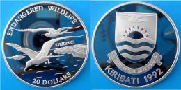 KIRIBATI 20 $ 1992 ARGENTO PROOF SILVER ENDANGERED WILDLIFE FREGATA KIRITIMATI CHRISTMAS ISLAND PESO 31,47g TITOLO 0,925 - Kiribati