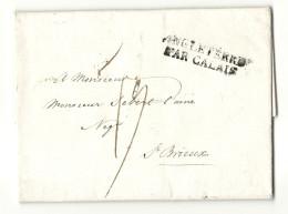 DOUVRES (Angleterre) Pour St-BRIEUC ( Cotes Du Nord) -1822. Cachet D´entrée ANGLETERRE PAR CALAIS - Postmark Collection (Covers)