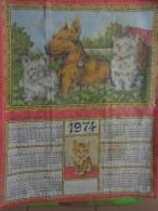 Torchon Calendrier-vintage- -1974-chat- Et Chien Berger Allemand-creation Sonacott - Publicité