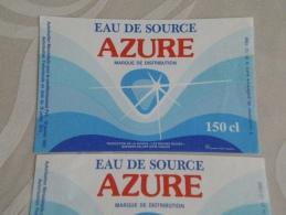 LOT 2 étiquettes Neuves Eau De Source  AZURE  Années 1989 Et 1990  1,5 Litre  87 Bussière-Galant  CHALUS - Etiketten