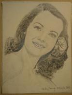 Dessin Au Crayon-Illustrateur -Audrey Young Actrice 30 Octobre 1922, Los Angeles, Californie, États-Unis (8) - Dessins