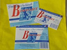 LOT 3 étiquettes Neuves Eau De Source BOMPART Voeuil Et Giget 16  VARIANTES 1,5 L ET 50 Cl   CLAIREFONTAINE France - Etiketten