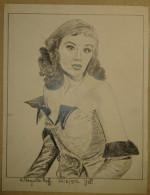Dessin Au Crayon-Illustrateur -Hildegard Knef, Aussi Hildegarde Neff, Née Hildegard Frieda Albertine Knef à Ulm (8) - Dessins
