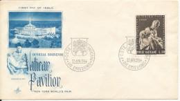 Vatican Souvenir Cover 22-4-1964 Vatican Pavilion New York World´s Fair Art Craft Cachet (the Cover Is A Little Bended) - Vatican