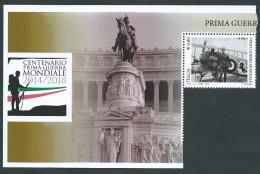 Italia 2015; Prima Guerra Mondiale; Francesco Baracca Con Il Suo Aereo + Bordo Foglietto. - 1946-.. République
