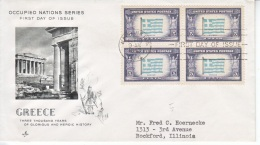 US FDC  OCCUPIED  NATIONS  GREECE - United States