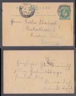 Natal 1/2d EVIIR Postal Card, 1911 NEW HANOVER > Berlin, PIETERMARITZBURG Transir - South Africa (...-1961)