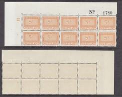 Swaziland, 1970, REVENUE, 5cents Orange, NE Block Of 10 With Plate No 1A, Sheet No 1780, MNH ** - Swaziland (1968-...)