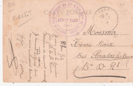 Alpes Maritimes:- MENTON SERVICE DE SANTE DU DEPOT DES 27° & 67° BATons DE CHASSEURS - Poststempel (Briefe)