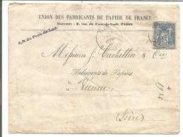 SAGE SUR LETTRE A EN TETE DE PARIS RUE BONAPARTE DU 21/4/1887 - Marcofilia (sobres)