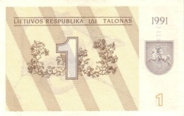 LITHUANIA 1 TALONAS 1991 P-32 UNC [LT133a] - Lituanie