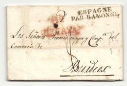 Espagne - Bilbao Pour Bordeaux (Gironde). Cachet D'entrée ESPAGNE PAR BAYONNE. 1824 - Storia Postale