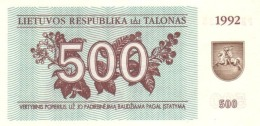 LITHUANIA 500 TALONAS 1992 P-44 UNC [LT155a] - Lituanie