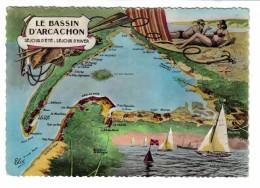 33 Le Bassin D´Arcachon Très Beau Plan Du Site En 1956 Baigneur Baigneuse Voilier Régates Le Cap Ferret - Arcachon