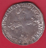 France Henri IV - 1/4 Ecu - 1607 - Argent - 1589-1610 Henri IV Le Vert-Galant