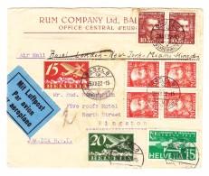 Schweiz Werbe 23.12.1932 Basel Luftpost Brief Nach Jamaica Rücks. Illustriert Zuckerrohrernte - Svizzera