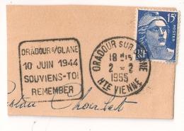 DAGUIN ORADOUR SUR GLANE Haute Vienne Sur 15F GANDON. - Marcophilie (Timbres Détachés)