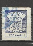7554-SELLO ESPAÑA GUERRA CIVIL FISCAL EXACCIONES LOCALES,SELLO MUNICIPAL,1 PESETA,RARO,ESCASO.SPAIN REVENUE.SPAIN CIVIL - Fiscales