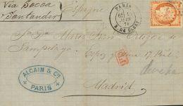 """Francia.  SOBRE1874. 40 Cts Naranja. Frontal De PARIS A MADRID. En El Frente Manuscrito """"""""Vía Socoa Santander"""""""". MAGNIFI - Sin Clasificación"""