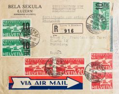 Suiza. Aéreo. Yvert 17(4), 20(3).  SOBRE1936. 20 Cts Rojo, Cuatro Sellos Y 10 Sobre 15 Cts Verde, Tres Sellos. Certifica - Svizzera