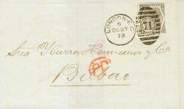 Gran Bretaña. Yvert 48.  SOBRE1873. 6 P Gris Oliva, Plancha 12. LONDRES A BILBAO. MAGNIFICA Y RARA. - ...-1840 Precursores