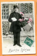 CAL819, Bonne Année, Facteur, Courrier, Fleur, 151, Circulée 1911 - Post