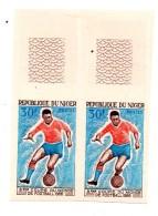 Niger Non Dentelé Football Coupe 1968 Paire 30 Francs - Niger (1960-...)