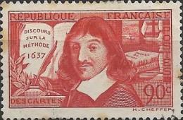 """FRANCE 1937 300th Anniv Of Publication Of """"Discours"""" - 90c Rene Descartes FU Wrong Inscription """"Sur La Methode"""" - Oblitérés"""