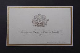 Carte Porcelaine Porcelain Cart Poseleinkaart Manufacture Royale De Tapis De Tournay Représentée Par Mr Heger - Cartes De Visite