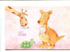 Cp - Carte De Voeux De Naissance - Tortue  - Girafe - Kangourou - Schildpadden