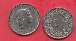 Suisse 20 Rappen 1887 Dans L ´état (FORTE COTE EN UNC) - Svizzera