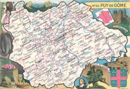 """/ CPSM FRANCE 63 Puy De Dôme"""" / CARTE GEOGRAPHIQUE - France"""