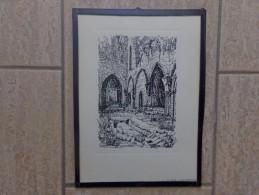 Orval Oude Abdijruïnen Pentekening Door Jan Van Campenhout - Litografía