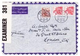 Schweiz Werbe 31.10.1942 Territet Plattenabnützung Linke Untere Ecken 215y Zensur Brief Nach London - Lettres & Documents