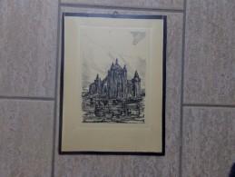 Laarne Middeleeuws Kasteel Pentekening Door Jan Van Campenhout - Lithographies