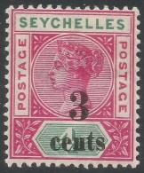 Seychelles. 1893 QV Surcharge. 3c On 4c MH. SG 15 - Seychelles (...-1976)