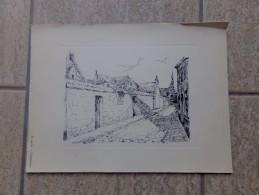 Leuven Schapenstraat Pentekening Door Jan Van Campenhout - Lithographies